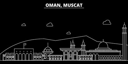 Orizzonte della siluetta di Muscat. Oman - città di vettore di Muscat, architettura lineare dell'Oman, edifici. Illustrazione di viaggio di Muscat, punti di riferimento di contorno. Icona piana di Oman, banner di design della linea dell'Oman