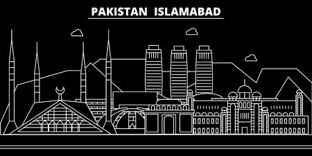 Islamabad silhouette skyline. Pakistan - Islamabad vector city, pakistani linear architecture, buildings. Islamabad line travel illustration, landmarks. Pakistan flat icon, pakistani outline design banner