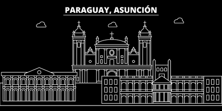 Asuncion silhouette skyline. Paraguay - Asuncion vector city, paraguayan linear architecture, buildings. Asuncion travel illustration, outline landmarks. Paraguay flat icon, paraguayan line design banner