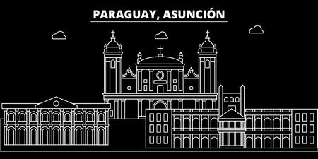 Asuncion silhouette skyline. Paraguay - Asuncion vector city, paraguayan linear architecture, buildings. Asuncion travel illustration, outline landmarks. Paraguay flat icon, paraguayan line design banner