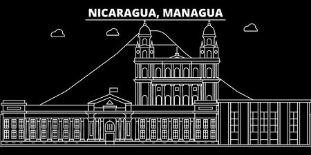 Managua silhouette skyline. Nicaragua - Managua vector city, nicaraguan linear architecture, buildings. Managua line travel illustration, landmarks. Nicaragua flat icon, nicaraguan outline design banner