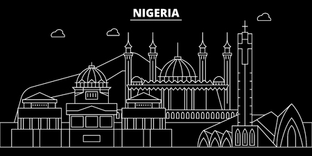 Nigeria silhouette skyline, vector, city, nigerian linear architecture, buildings. Nigeria travel illustration, outline landmarkflat icon, nigerian line banner