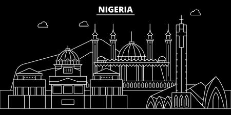Nigeria silhouette skyline, vector, city, nigerian linear architecture, buildings. Nigeria travel illustration, outline landmarkflat icon, nigerian line banner