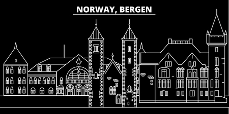 Bergen silhouette skyline. Norway - Bergen vector city, norwegian linear architecture, buildings. Bergen line travel illustration, landmarks. Norway flat icon, norwegian outline design banner