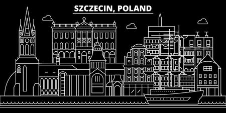 Szczecin silhouette skyline. Poland - Szczecin vector city, polish linear architecture, buildings. Szczecin line travel illustration, landmarks. Poland flat icon, polish outline design banner