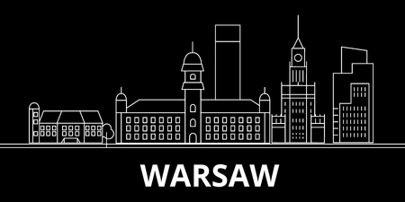 Warsaw city silhouette skyline. Poland - Warsaw city vector city, polish linear architecture, buildings. Warsaw city line travel illustration, landmarks. Poland flat icon, polish outline design banner