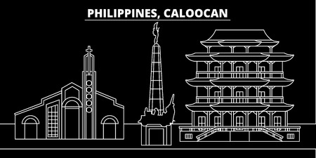 Caloocan silhouette skyline. Philippines - Caloocan vector city, filipino linear architecture, buildings. Caloocan line travel illustration, landmarks. Philippines flat icon, filipino outline design banner Ilustrace