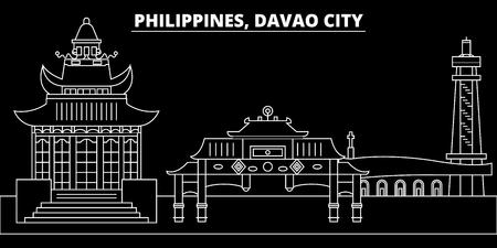 Davao City silhouette skyline. Philippines - Davao City vector city, filipino linear architecture, buildings. Davao City line travel illustration, landmarks. Philippines flat icon, filipino outline de