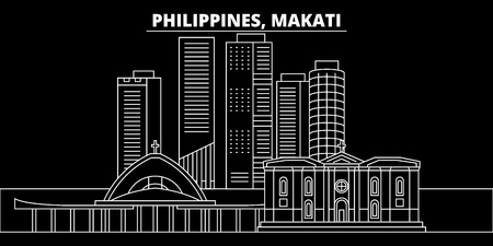 Makati silhouette skyline. Philippines - Makati vector city, filipino linear architecture, buildings. Makati line travel illustration, landmarks. Philippines flat icon, filipino outline design banner  イラスト・ベクター素材