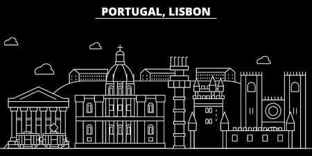 Lisbon silhouette skyline. Portugal - Lisbon vector city, portuguese linear architecture, buildings. Lisbon line travel illustration, landmarks. Portugal flat icon, portuguese outline design banner Ilustração