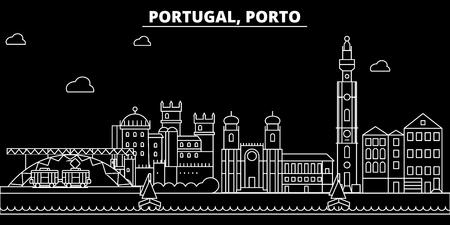 Porto Silhouette Skyline. Portugal - Porto Vektorstadt, portugiesische lineare Architektur, Gebäude. Porto Linie Reise Illustration, Sehenswürdigkeiten. Flache Ikone Portugal, portugiesisches Umrissentwurfsbanner