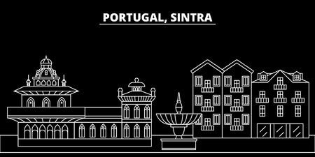 Sintra silhouette skyline. Portugal - Sintra vector city, portuguese linear architecture, buildings. Sintra line travel illustration, landmarks. Portugal flat icon, portuguese outline design banner Ilustração