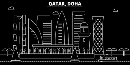 Doha silhouette skyline. Qatar - Doha vector city, qatari linear architecture, buildings. Doha line travel illustration, landmarks. Qatar flat icon, qatari outline design banner