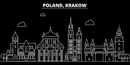 Krakow silhouette skyline. poland - Krakow vector city, polish linear architecture, buildings. Krakow line travel illustration, landmarks. poland flat icon, polish outline design banner