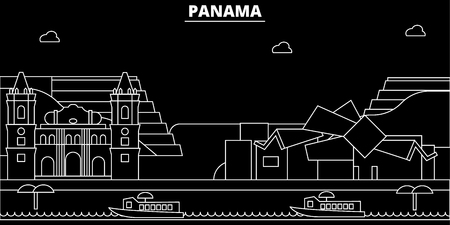 Panama silhouette skyline, vector, city, panamanian linear architecture, buildings. Panama travel illustration, outline landmarkflat icon, panamanian line banner