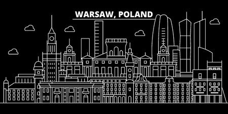 Warsaw silhouette skyline. Poland - Warsaw vector city, polish linear architecture, buildings. Warsaw line travel illustration, landmarks. Poland flat icon, polish outline design banner