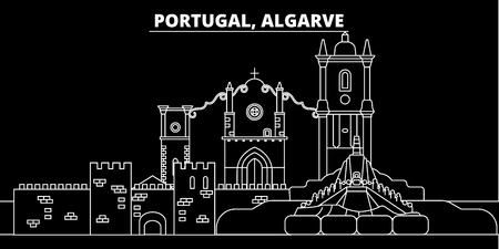 Algarve silhouette skyline. Portugal - Algarve vector city, portuguese linear architecture, buildings. Algarve line travel illustration, landmarks. Portugal flat icon, portuguese outline design banner
