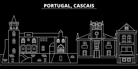 Cascais silhouette skyline. Portugal - Cascais vector city, portuguese linear architecture, buildings. Cascais line travel illustration, landmarks. Portugal flat icon, portuguese outline design banner Ilustração