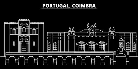 Coimbra silhouette skyline. Portugal - Coimbra vector city, portuguese linear architecture, buildings. Coimbra line travel illustration, landmarks. Portugal flat icon, portuguese outline design banner Illustration