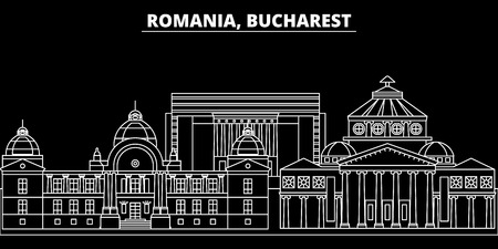 Bucharest silhouette skyline. Romania - Bucharest vector city, romanian linear architecture, buildings. Bucharest line travel illustration, landmarks. Romania flat icon, romanian outline design banner Иллюстрация