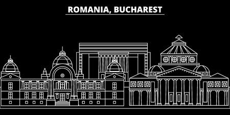 Silhouet skyline van Boekarest. Roemenië - Boekarest vector stad, Roemeense lineaire architectuur, gebouwen. Boekarest lijn reizen illustratie, oriëntatiepunten. Roemenië platte pictogram, Roemeense schets ontwerp banner