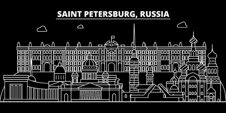 Saint Petersburg silhouette skyline. Russia - Saint Petersburg vector city, russian linear architecture, buildings. Saint Petersburg line travel illustration, landmarks. Russia flat icon, russian outline design banner