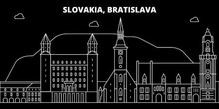 Bratislava silhouette skyline. Slovakia - Bratislava vector city, slovakian linear architecture, buildings. Bratislava line travel illustration, landmarks. Slovakia flat icon, slovakian outline design banner Çizim
