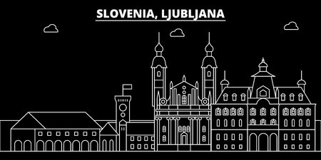 Ljubljana silhouette skyline. Slovenia - Ljubljana vector city, slovenian linear architecture, buildings. Ljubljana line travel illustration, landmarks. Slovenia flat icon, slovenian outline design banner
