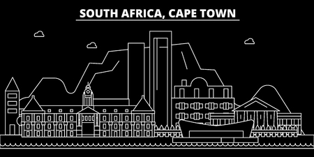 Cape Town silhouette skyline. South Africa - Cape Town vector city, south african linear architecture, buildings. Cape Town line travel illustration, landmarks. South Africa flat icon, south african outline design banner Иллюстрация