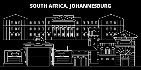 Johannesburg silhouette skyline. South Africa - Johannesburg vector city, south african linear architecture, buildings. Johannesburg travel illustration, outline landmarks. South Africa flat icon, south african line design banner Illustration