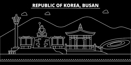 Busan silhouette skyline. South Korea - Busan vector city, korean linear architecture, buildings. Busan line travel illustration, landmarks. South Korea flat icon, korean outline design banner Stock Vector - 102160401