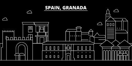 Granada silhouette skyline. Spain - Granada vector city, spanish linear architecture, buildings. Granada line travel illustration, landmarks. Spain flat icon, spanish outline design banner