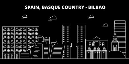 Bilbao, Basque Country silhouette skyline. Spain - Bilbao, Basque Country vector city, spanish linear architecture, buildings. Bilbao, Basque Country line travel illustration, landmarks. Spain flat icon, spanish outline design banner