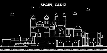 Cadiz silhouette skyline. Spain - Cadiz vector city, spanish linear architecture, buildings. Cadiz line travel illustration, landmarks. Spain flat icon, spanish outline design banner 写真素材 - 102160408