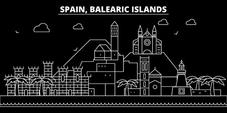 Balearic Islands silhouette skyline. Spain - Balearic Islands vector city, spanish linear architecture, buildings. Balearic Islands line travel illustration, landmarks. Spain flat icon, spanish outline design banner Иллюстрация