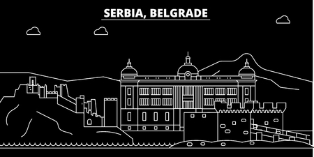 Belgrade silhouette skyline. Serbia - Belgrade vector city, serbian linear architecture, buildings. Belgrade line travel illustration, landmarks. Serbia flat icon, serbian outline design banner Imagens - 102160596