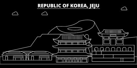 Jeju silhouette skyline. South Korea - Jeju vector city, korean linear architecture, buildings. Jeju line travel illustration, landmarks. South Korea flat icon, korean outline design banner Illustration