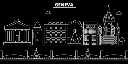 Geneva silhouette skyline. Switzerland - Geneva vector city, swiss linear architecture, buildings. Geneva line travel illustration, landmarks. Switzerland flat icon, swiss outline design banner Illustration