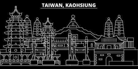 Kaohsiung silhouette skyline. Taiwan - Kaohsiung vector city, taiwanese linear architecture, buildings. Kaohsiung travel illustration, outline landmarks. Taiwan flat icon, taiwanese line design banner