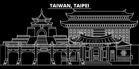 Taipei silhouette skyline. Taiwan - Taipei vector city, taiwanese linear architecture, buildings. Taipei line travel illustration, landmarks. Taiwan flat icon, taiwanese outline design banner Çizim