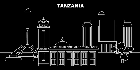 Tanzania silhouette, skyline, vector city, tanzanian linear architecture, buildings. Tanzania travel illustration, outline landmarkflat icon, tanzanian line banner