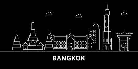 Bangkok silhouette skyline. Thailand - Bangkok vector city, thai linear architecture, buildings. Bangkok line travel illustration, landmarks. Thailand flat icon, thai outline design banner Illustration