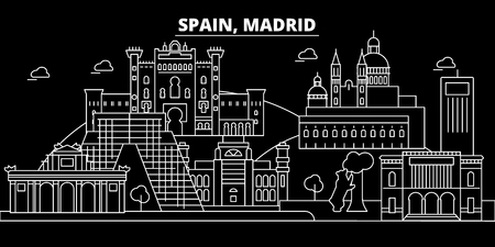 Madrid city silhouette skyline. Spain - Madrid city vector city, spanish linear architecture, buildings. Madrid city line travel illustration, landmarks. Spain flat icon, spanish outline design banner