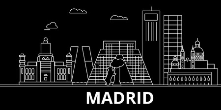 Madrid silhouette skyline. Spain - Madrid vector city, spanish linear architecture, buildings. Madrid travel illustration, outline landmarks. Spain flat icon, spanish line design banner 向量圖像