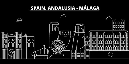 Malaga, Andalusia, silhouette skyline. Spain - Malaga, Andalusia vector, city, spanish linear architecture, buildings. Malaga, Andalusia line travel illustration, landmarks Spain flat icon spanish outline design banner Stockfoto - 102160621