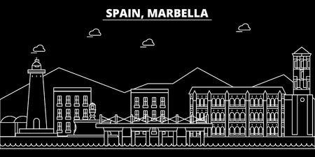Marbella silhouette skyline. Spain - Marbella vector city, spanish linear architecture, buildings. Marbella line travel illustration, landmarks. Spain flat icon, spanish outline design banner