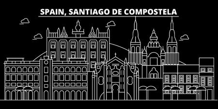 Santiago de Compostela silhouette skyline. Spain - Santiago de Compostela vector city, spanish linear architecture, buildings. Santiago de Compostela line travel illustration, landmarks. Spain flat icon, spanish outline design banner