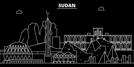 Sudan silhouette skyline, vector, city, sudanese linear architecture, buildings. Sudan travel illustration, outline landmarkflat icon, sudanese line banner