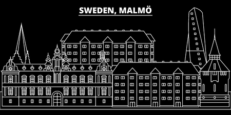 Malmo silhouette skyline. Sweden - Malmo vector city, swedish linear architecture, buildings. Malmo travel illustration, outline landmarks. Sweden flat icon, swedish line design banner Stock Illustratie