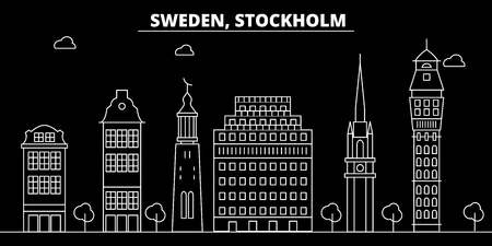 Stockholm silhouette skyline. Sweden - Stockholm vector city, swedish linear architecture, buildings. Stockholm line travel illustration, landmarks. Sweden flat icon, swedish outline design banner